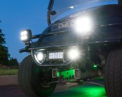 Universal Mounting Bracket for Off Road LED Light Bar: Shown Mounting Light Bar And AUX Lights To Bottom Bar On Golf Cart Brush Guard (Lights Sold Separately).