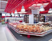 LED Retrofit Kit for 320W MH Fixtures: Shown Retrofitted In Low Bay Fixtures Over Deli Counters.