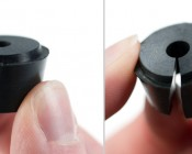 Each of the input and output connector hubs comes with a rubber grommet with a hole for the wire to pass through. There is a hairline seam that can be pulled apart before use in an application, as shown above.