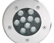 LED In Ground Well Light - 9 x 1W High Power RGB LEDs: Front View
