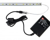 Wall-Mounted Desktop Power Supply - 12V DC GST Series: Shown Connected To LED Light Bar (Sold Separately).