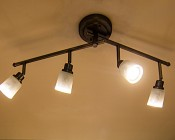 Dimmable GU10 Base LED Bulb: Installed in Light Fixture