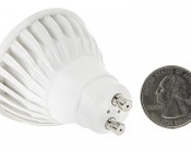 7 Watt GU10 Warm White LED Bulb - Multifaceted Lens with High Power COB LED: Back View With Size Comparison