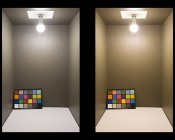 GU24 LED Bulb - 90 Watt Equivalent - Dimmable A19 Bulb - 900 Lumens: Illuminated Inside Box Natural White (Left) and Warm White (Right)