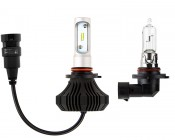 LED Headlight Kit - H10 LED Fanless Headlight Conversion Kit with Compact Heat Sink: Size Comparison to Incandescent Bulb