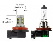 Can Bus H11 LED Bulb - 30 SMD LED Daytime Running Light - LED Tower: Profile View with Size Comparison to Stock Incandescent Bulb and Dimensions