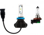 LED Headlight Kit - H9/H11 LED Fanless Headlight Conversion Kit with Compact Heat Sink: Size Comparison to Incandescent Bulb