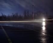 LED Headlight Kit - H11 LED Headlight Conversion Kit with Aluminum Finned Heat Sinks: Profile View of Headlights Illuminated In Parking Lot