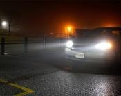 LED Headlight Kit - H11 LED Headlight Conversion Kit with Aluminum Finned Heat Sinks: Lights Illuminated In Parking lot