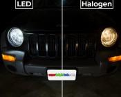 LED Headlight Kit - H11 LED Headlight Conversion Kit with Aluminum Finned Heat Sinks: LED vs Halogen Comparison