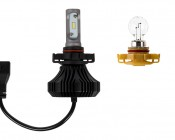 LED Headlight Kit - H16 LED Fanless Headlight Conversion Kit with Compact Heat Sink: Profile View Incandescent Comparison