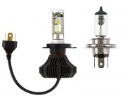 LED Headlight Kit - H4 LED Fanless Headlight Conversion Kit with Compact Heat Sink: Size Comparison to Incandescent Bulb