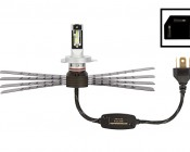 LED Headlight Kit - H4 LED Headlight Conversion Kit with Aluminum Finned Heat Sinks: Profile View