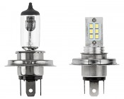 H4 LED Bulb - 12 LED Daytime Running Light with Incandescent for Comparison
