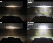 Rectangular H6545 LED Projector Headlights - LED Headlights Conversion - Sealed Beam: Installed in Car Aimed at Target Comparing Stock Incandescent Headlights to LED Conversion