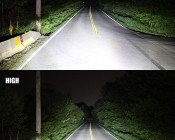 Rectangular H6054 LED Projector Headlights - DOT Approved LED Headlights Conversion: Low & High Beams Aimed Down Road