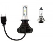 LED Headlight Kit - H7 LED Fanless Headlight Conversion Kit with Compact Heat Sink: Size Comparison to Incandescent Bulb