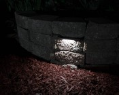 "LED Hardscape Lighting - 8""  Deck / Step and Retaining Wall Lights w/ Mounting Plates: Shown Installed In Retaining Wall In Natural White."