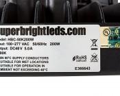 200 Watt UFO LED High Bay Light - 22,000 Lumens: Close Up View of Label