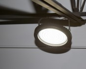 200 Watt UFO LED High Bay Light - 23,000 Lumens: Shown Installed With Optional Mounting Bracket (Sold Separately)