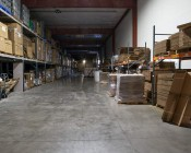 200 Watt UFO LED High Bay Light - 22,000 Lumens: Shown Installed In Warehouse With Approximately 30' Ceilings.