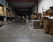 150 Watt UFO LED High Bay Light - 17,000 Lumens: Shown Installed In Warehouse With Approximately 30' Ceilings.