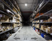 180W Double Linear LED Light Fixture - Industrial LED Light w/ Mounting Brackets - 2-3/8' Long - 19,500 Lumens: Shown Installed In Warehouse From Approximately 25' Ceilings.