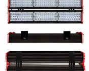 180W Double Linear LED Light Fixture - Industrial LED Light w/ Mounting Brackets - 2-3/8' Long - 19,500 Lumens: Front, Profile, & Back Views