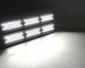 180W Double Linear LED Light Fixture - Industrial LED Light w/ Mounting Brackets - 2-3/8' Long - 19,500 Lumens: Turned On Showing Beam Pattern