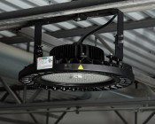 Mounting Bracket for 240W UFO LED High Bay Lights - Installed in Warehouse