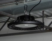 240 Watt UFO LED High Bay Light - 5000K - 30,000 Lumens - Installed in Warehouse Using SC-300 Carabiner