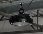 60 Watt UFO LED High Bay Light - 5000K - 6,800 Lumens - Installed With  SC-300 Carabiner in Warehouse