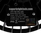 100 Watt UFO LED High Bay Light w/ Optional Reflector - 5000K - 13,000 Lumens: label