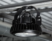 Adjustable U-Bracket for 100W, 150W, 200W, and 300W UFO LED High-Bay Lights - Shown installed on 150W