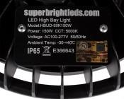 150 Watt UFO LED High Bay Light w/ Optional Reflector - 5000K - 19,500 Lumens: Label