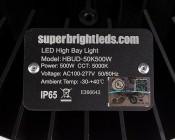 500 Watt UFO LED High Bay Light w/ Optional Reflector - 5000K - 65,000 Lumens - Label
