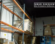 HBUD-50K500W-x - 500 Watt UFO LED High Bay Light w/ Optional Reflector - 5000K - 60,000 Lumens - Installed in Warehouse with 120 Degree Lens - Side View