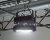 500 Watt UFO LED High Bay Light w/ Optional Reflector - 5000K - 60,000 Lumens - Installed in Warehouse - Turned On