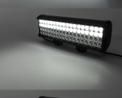 """17"""" Heavy Duty Off Road LED Light Bar with Multi Beam Technology - 216W: On Showing Beam Pattern In Flood, Spot, And Multi Beams."""