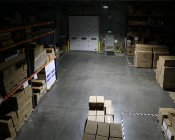 LED Area Light - 160W (500W HID Equivalent) - 5000K/3000K - 20,000 Lumens: Shown Illuminating Warehouse From Approximately 15'.