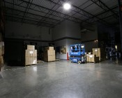 LED Area Light - 160W (500W HID Equivalent) - 5000K/3000K - 20,000 Lumens: Shown Illuminating Warehouse Floor From Approximately 15'.