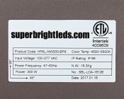 LED Area Light - 300W (850W HID Equivalent) - 5300K - 34,170 Lumens: Close Up View Of Label