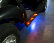 """Round LED Truck and Trailer Lights w/ Grommet - 3/4"""" PC Rated LED Side Clearance Light w/ 1 High Flux LED - Bullet Connector: Shown Installed On Golf Cart In Amber."""