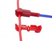 22-18 AWG IDC Terminal T-Tap Splice Tap: Being Shown Open And Tapped Into Wire