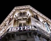 36 Watt High Power LED Flood Light Fixture: Shown Illuminating Exterior Of Hotel.