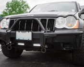 """LED Work Light - 6"""" Rectangle - 17W: Shown Installed On Jeep As Daytime Running Lights."""