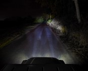 """LED Driving Light - 3"""" Square - 25W: Shown Installed On Jeep And Showing Beam Pattern On Dark Road."""