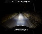 """LED Driving Light - 3"""" Square - 25W: Showing Driving Lights On (Top) Compared To LED Headlights (Center) And On With LED Headlights (Bottom)"""