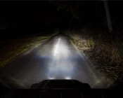 "LED Work Light - 7"" Round - 40W: Installed On Jeep Showing Light Output And Beam Pattern On Low."