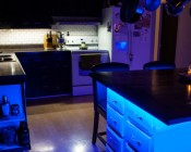 Customer installed color chasing Dream Color LED Strips around kitchen island to create cool accent lighting and floating effect.